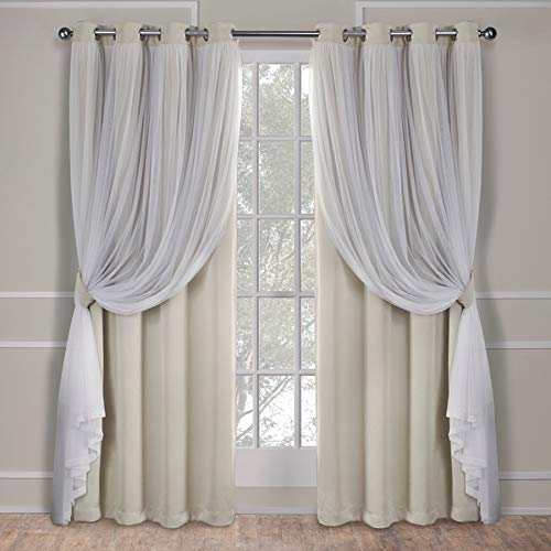 Exclusive Home Curtains Catarina Layered Solid Blackout and Sheer Window Curtain Panel Pair with Grommet Top, 52x84, Sand, 2 Count