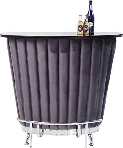 Kare Design Bar After Work Chrome Extravagant Table de Bar comptoir de Bar avec Beaucoup d'espace de Rangement Velours Bar avec Porte-Bouteilles Violet Taille Unique