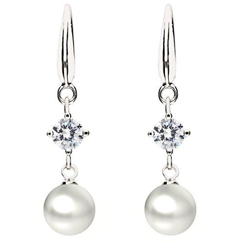 MYA art Premium Damen Ohrringe Perlenohrringe Hängend 925 Sterling Silber Swarovski Elements Kristall mit Perlen Anhänger Weiß Perle MYASIOHR-75