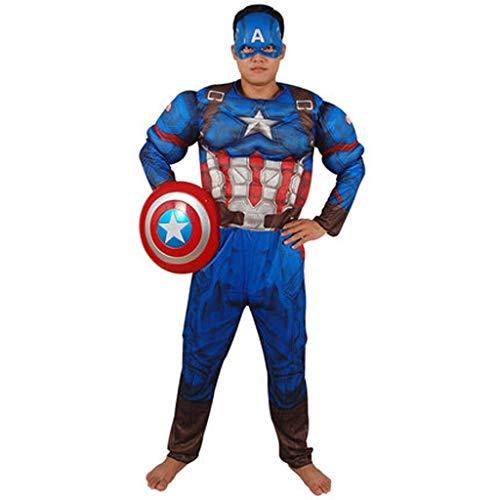 YUNMO Attrezzature Fun Festa annuale dei Bambini Costumi Adulti Costumi Maschili Vestiti Cosplay Capitan America Costumi muscolari