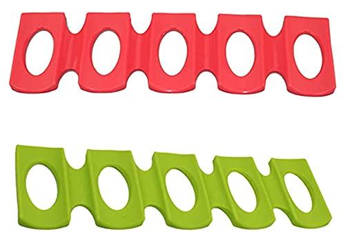 2PCS Portabottiglie in silicone antiscivolo Portabottiglie anti-collisione per impilare e conservare bottiglie in frigoriferi e armadi (rosso e verde)