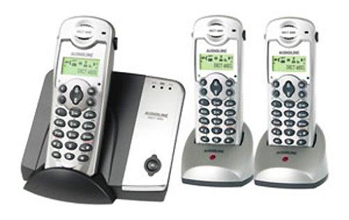 Audioline DECT 4800 Trio schnurlos Telefon, Delphin-Silber