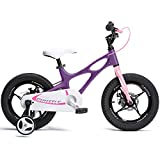 RoyalBaby Boys Girls Kids Bike 14 Inch Space Shuttle Magnesium Bicycles with Training Wheels Child Bicycle Purple