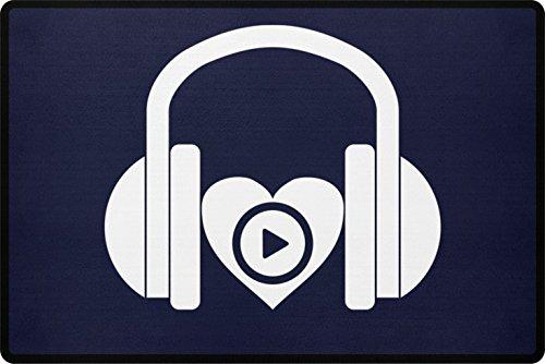 PlimPlom Música DJ Felpudo – I Love Music Felpudo para la puerta de casa o exterior – Felpudo atrapa la suciedad con corazón impreso de polipropileno con parte inferior antideslizante (azul oscuro)