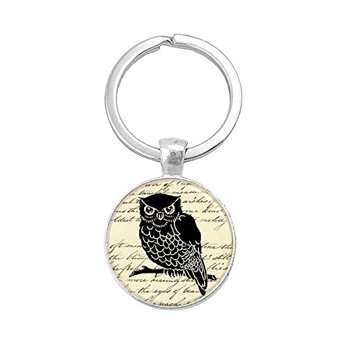 because meet you Owl Vintage Print Art Key-Ring Keychains ,Inspiration Jewelry ,Dome Glass Ornaments, Gifts for her