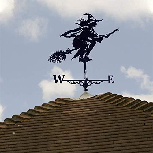 Metallhexe Wind Wetterfahne Dach und Wandmontage Wetter Garten Ornament, Windgeblasene böse Hexe mit Windrichtungsanzeige, Metallhalterungen für Wetterfahne, Hexen Sensenmann Mustang Windmühle