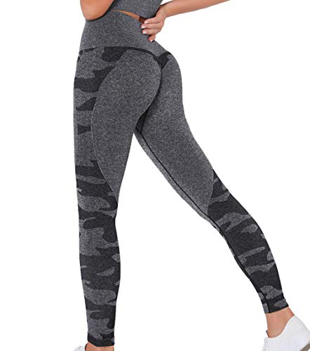 KIWI RATA Damen Camo Booty Sport Leggings Sexy Push Up Gym Sporthose Fitnesshose Po Geraffte Fitness Leggins Seamless Hohe Taille Yogahosen Kompression Slim Fit Fashion Sportleggins Hose