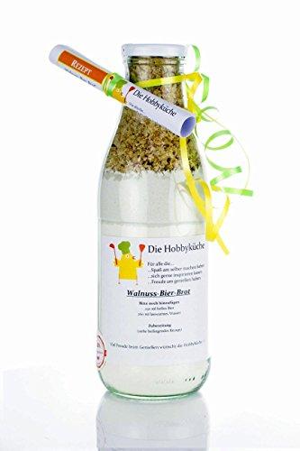 Walnuss-Bier-Brot Backmischung Inhalt 700g in dekorativer 1 L Glasflasche ideal als Geschenk