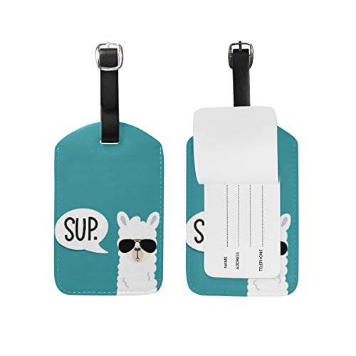 Moyyo Llama Sup Alpaca with Sunglasses Luggage Tag Suitcase Tags Leather Travel Baggage Luggage Identify ID Tags Labels for Suitcases Luggage Tags with Privacy Cover