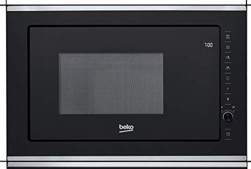 Beko MGB 25333X Microondas Integrable con Grill, 900 W, 25 litros, Acero inoxidable/Cristal Negro