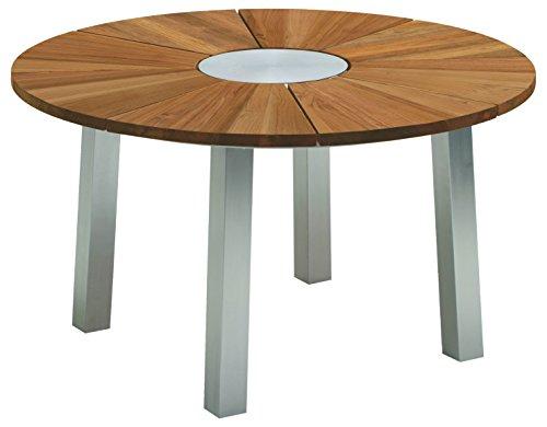Niehoff Garden Nexor Tisch, Teak Massiv, Edelstahl Gebürstet, Füße Quadratisch, DM 140