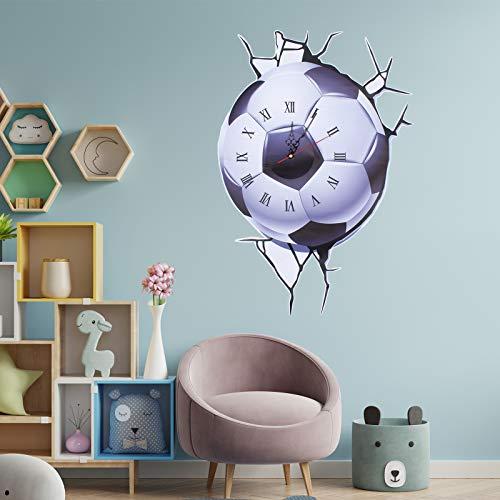 MoYouno, orologio da parete 3D, silenzioso, decorazione da parete, adesivo adesivo da parete, adesivo da parete, adesivo da parete per calcio e calcio