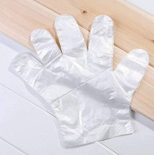 TEKSHOPPING Packung mit 200 Stück Lebensmittel-Handschuhe für Lebensmittel, transparent, aus Polyethylen, zum Kochen von Obst, zum Reinigen und Waschen von Haarfarbe