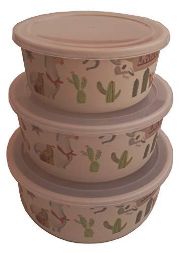 Tuper de Bambu 3 Tupers de Fibra de Bambú Ecologicos - Material Organico, Reciclable, Biodegradable - Apto Lavavajillas - Resistente y Ligero - Eco, Bio, sin BPA ni Plastico - Taper Color Llama