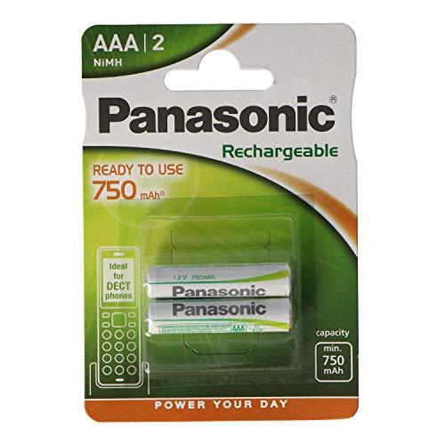 Panasonic Stay Charged - Pack de Pilas Recargables (750 mAh, 1.2 V, 2 Unidades), Blanco