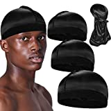 3+1 Silky Wave Caps with Durag for Men, Satin Good Compression Cap Pack for 360 Waves,A