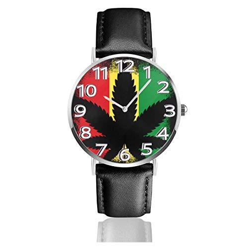 Fahne von Äthiopien Fashion PU Leder Herren Ray Glas Quarz Analog Uhren