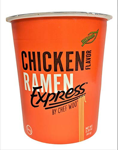 RAMEN EXPRESS Chicken Flavor Ramen Cup Noodle 225 Oz Each Pack Of 12 by Chef Woo   Vegetarian   Kosher   Halal   EggFree and DairyFree