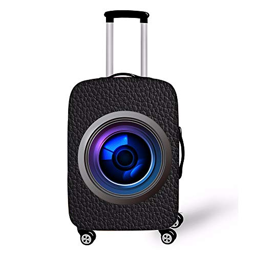 Shujin 3D Camera Luggage Cover Case Thickness Elasticity for 18-32 Inch Suitcase Cover Luggage Cover Luggage Cover, spandex, Black, X-Large