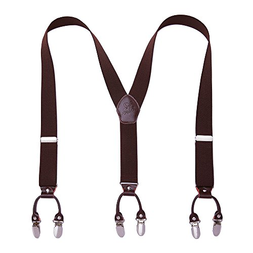 KANGDAI Mann Hosenträger Mode Einstellbare und Hohe Qualität 6 Clips mit Y Zurück Durable Breite Elastische Straps Hosenträger für Hosen Hosenträger (Herr braun)