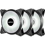 Novonest 120mm 冷却LEDファン PCケース用 静音タイプ 25mm厚 600-1700rpm±10% PWM 4PIN 白い3本【T4WT4-3】