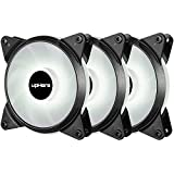 upHere 120mm 3-Pack 3-Pin High Airflow Quiet Edition White LED Case Fan for PC Cases, CPU Coolers, and Radiators T3WT3-3
