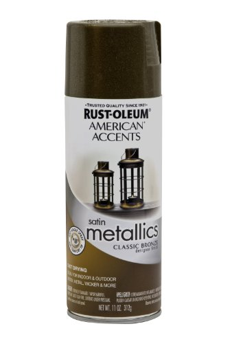 Rust-Oleum 202642 American Accents Topcoat Designer Metallic Spray Paint, 12 Oz Aerosol Can, 11 oz, Classic Bronze