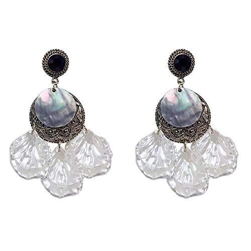 Pendientes bohemios para mujer de 7 cm de aleación azul con diamantes de imitación de concha de borla redonda bohemia para señoras pendientes de moda con flecos retro para mujer, 7CM, Zinc,