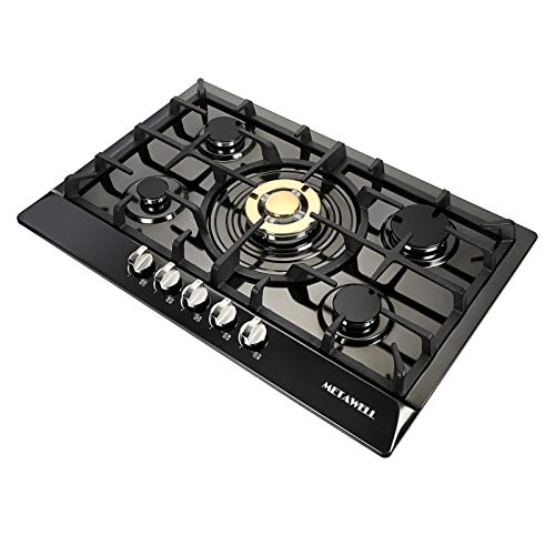 30 inch Gas Cooktop Gas Cooktops 5 Burner Built-In Gas Stoves NG LPG Gas Stove Range with 5 High Efficiency Burners NG/LPG Convertible Stainless Steel Gas Stove Top with Thermocouple Protection