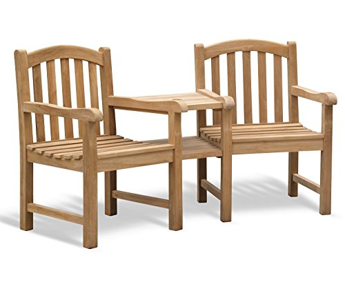Jati Gloucester Teak FULLY ASSEMBLED Love Seat - Tete a Tete Companion Bench Brand, Quality & Value (No Cushion)
