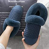 Ririhong Zapatilla de Estar por casa,Zapatillas de algodón para Mujer, hogar de Invierno, Paquete de Aislamiento térmico Antideslizante de Suela Gruesa para Interiores, Azul_40