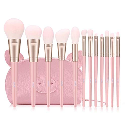 Maquillage Pinceau 12 Pcs Cosmétiques Ensemble Fibre Fondation Fard À Paupières Mélanger Maquillage Outils Sac Rose