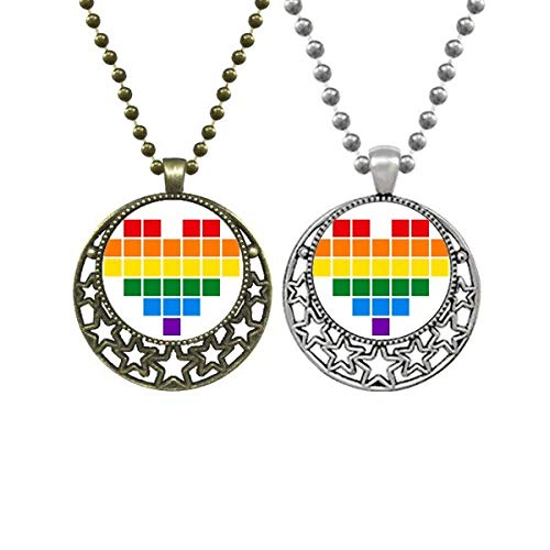 Rainbow Gay Lesbian Small Box Heart LGBT Lovers Necklaces Pendant Retro Moon Stars Jewelry