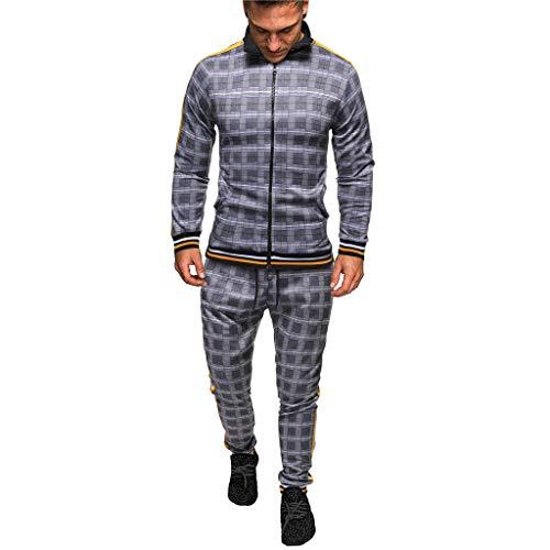 Men's Athletic Tracksuit, Men 2 Piece Jacket & Pants Full Zip Active Wear Sweatsuit Set Plaid Casual Jogging Sports Set (Gray, L)