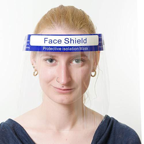 Visier Gesichtsschutz - Gesichtsschutz aus Plexiglas abwaschbar - Face Shield - Gesichts Schutzschild - Mundschutz, Atemschutzmaske und Brille/Schutzbrille können zusätzlich getragen Werden