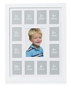 Pearhead School Years Picture Frame K-12 Keepsake Kindergarten to 12th Grade Graduation Grad Gift White