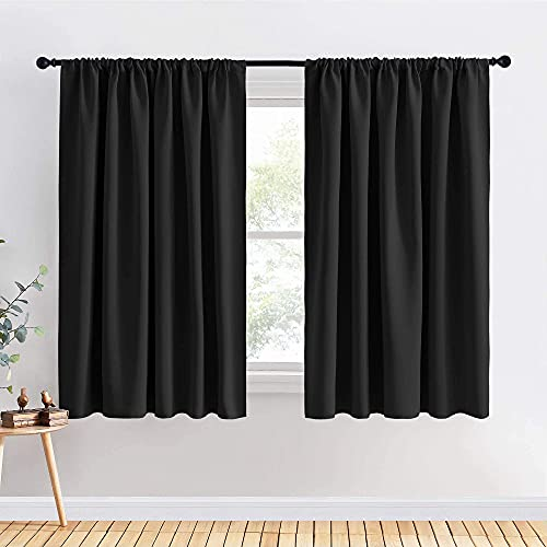 """PONY DANCE Bedroom Curtains 63 inch Length - Black Out Curtains and Drapes Thermal Insulated Light Block Rod Pocket for Bedroom, 70"""" Width per Panel, Black, Set of 2"""