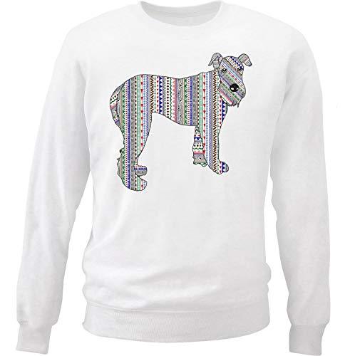 teesquare1st Men's Airedale Terrier Aztec Doodle White Sweatshirt Size Large