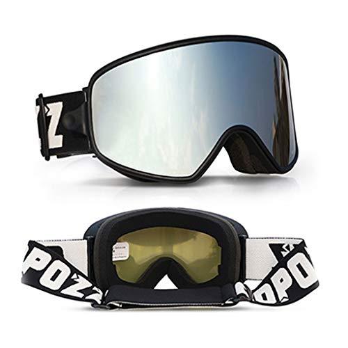 Jiaan OTG Skibril, dag en nacht, dubbele skibril, skibril, snowboardbril, sneeuwbril, spiegel voor heren, dames, volwassenen, jongeren, jongens, meisjes, anti-condens-skibril