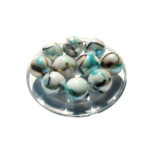 2 Larges Marbles - Marble TIGRE BLANC - Glass Marble diameter : 25 mm. by MARECREATION