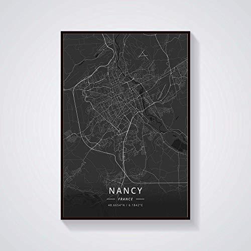 Rompecabezas De Madera 1000 Piezas - Nancy France City Mapa Negro Patrón Puzzle,para Adultos Y Niños,Adolescentes Adultos Pruebas De Estrés Desafío Juguetes Difíciles,300Pcs