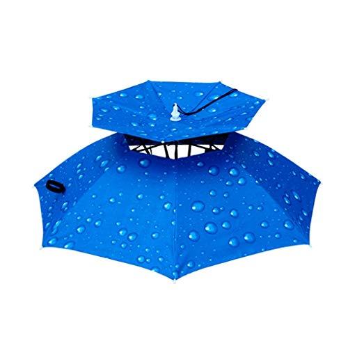 Koningin Boetieks Eenvoudig te vouwen Dubbele Winddichte Paraplu Cap Kop-gemonteerde Paraplu Zonnebrandcrème Opvouwbare Hoofd Paraplu Cap Outdoor Sunshade Vissen Regendicht en winddicht