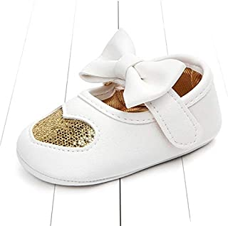 Baby Shoes Baby Moccasins PU Leather Toddler First Walker Princess Love Bow Soft Soled Shoes, Size:13cm(Gold) Baby Items (Color : Gold)
