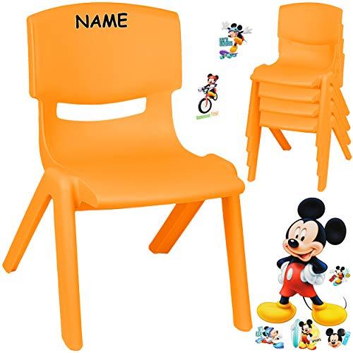 alles-meine.de GmbH Kinderstuhl / Stuhl - Motivwahl - orange + Sticker - Disney Mickey Mouse - inkl. Name - Plastik - bis 100 kg belastbar / kippsicher - für INNEN & AUßEN - 0 - ..