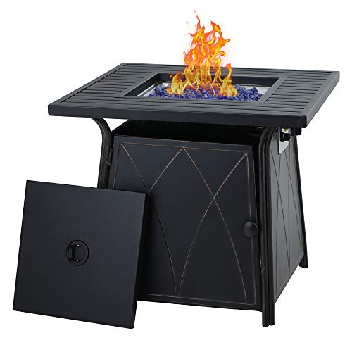 PHI VILLA Gas Fire Pit Table, 28 Inch Square Outdoor Patio Propane 50000 BTU Fire Pit Table with Lid and Blue Fire Glass