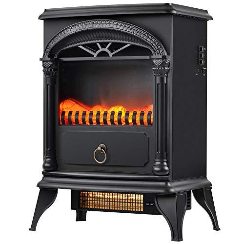 Elektrischer Kamin,1500W Elektrokamin mit Heizlüfter, LED-Flammeneffekt, 2 Heizstufe, 3D realistischer Feuer, Kaminofen Elektrisch Freistehend,41 x 24.5 x 55 cm