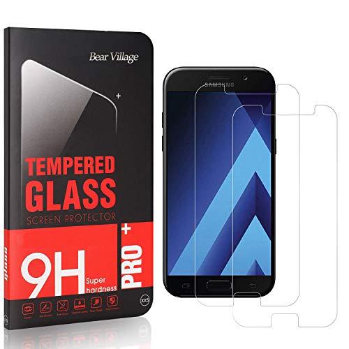 Bear Village® Displayschutzfolie für Galaxy A5 2017, Blasenfrei, Anti Fingerabdruck, HD Ultra klar Schutzfolie aus Gehärtetem Glas für Samsung Galaxy A5 2017, 2 Stück