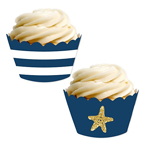 Andaz Press Party Cupcake Wrapper Decorations, Navy Blue Stripes and Faux Gold Glitter Starfish, 24-Pack, Nautical Sailing Ocean Wedding Bridal Baby Shower Birthday Theme Colored Bulk Cake Supplies