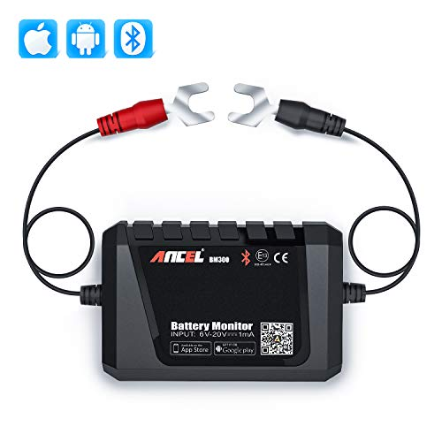 ANCEL BM300 Bluetooth Battery Monitor 12V Battery Tester Automotive Charging Cranking System Test for All 12 Volts Vehicles Boats Motorcycles SUVs