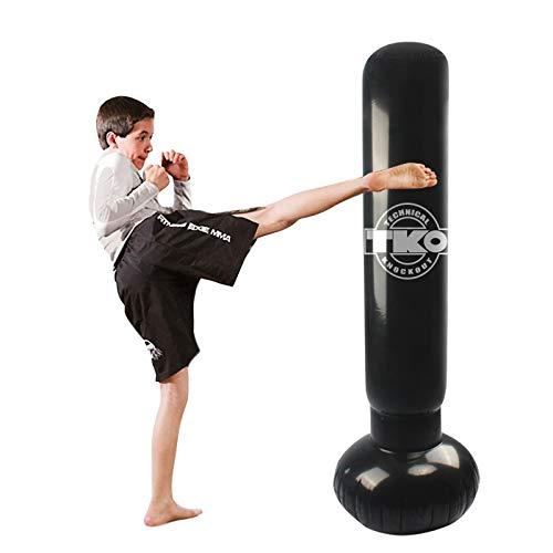 LncBoc Saco de Boxeo, 160cm Saco de Boxeo Hinchable de Pie, Fitness Boxeo Saco de Arena Columna Tumbler, Taekwondo y aliviar Pent Up Energy en niños Adultos